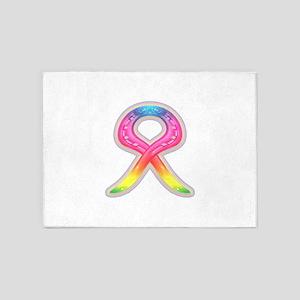 horse shoe rainbow ribbon 5'x7'Area Rug