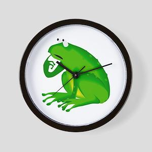 Green thinking frog Wall Clock