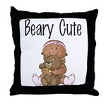 African American Baby and Bear Throw Pillow