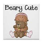 African American Baby and Bear Tile Coaster