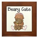 African American Baby and Bear Framed Tile