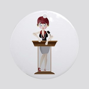 Young lady at podium cartoon Round Ornament