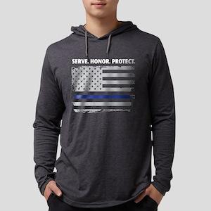 Serve Honor Protect Thin Blue Long Sleeve T-Shirt