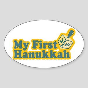 My First Hanukkah Oval Sticker
