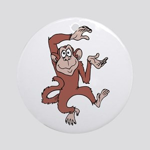Monkey Excited Round Ornament