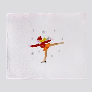 Ice skating girl Throw Blanket
