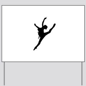 Silhouette of gymnastic girl Yard Sign
