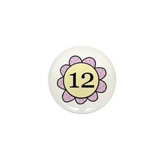 Twelve Years Purple/yellow flower Mini Button