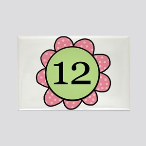 Twelve Years Pink/Green Flower Rectangle Magnet