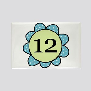 Twelve blue/green flower Years Rectangle Magnet