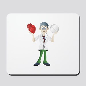Doctor cartoon holding heart and tablet Mousepad
