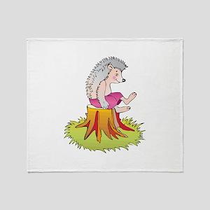 Hedgehog on Stump Throw Blanket