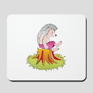 Hedgehog on Stump Mousepad