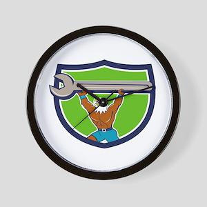 American Bald Eagle Mechanic Spanner Crest Cartoon