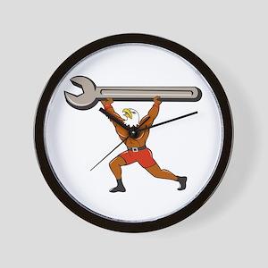 American Bald Eagle Mechanic Spanner Cartoon Wall