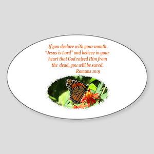 ROMANS 10:9 Sticker (Oval)