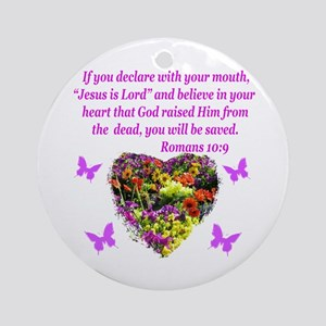 ROMANS 10:9 Round Ornament