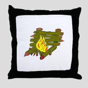 Fire Catching Wood Throw Pillow