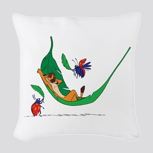 The Lion King on leaf Woven Throw Pillow