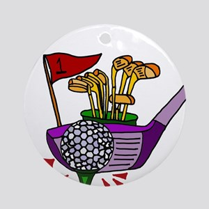 Golfing Abstract Art Round Ornament
