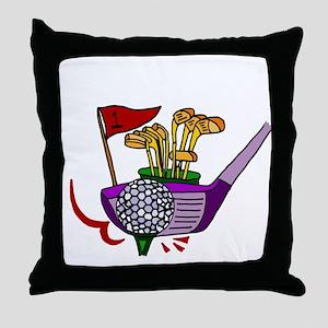 Golfing Abstract Art Throw Pillow
