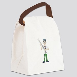 Doctor with thermometer cartoon Canvas Lunch Bag