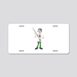 Doctor with thermometer car Aluminum License Plate