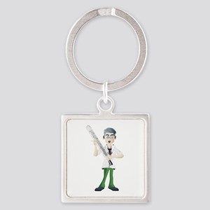 Doctor with thermometer cartoon Keychains