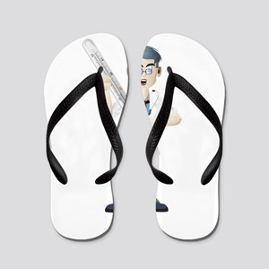 Doctor with thermometer cartoon Flip Flops