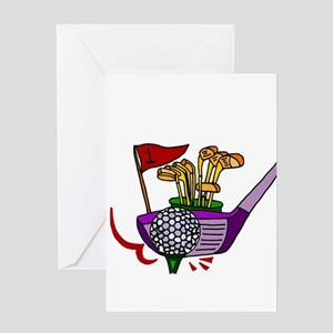 Golfing Abstract Art Greeting Cards