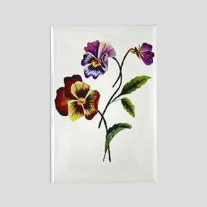 FAUX EMBROIDERED PANSY Rectangle Magnet