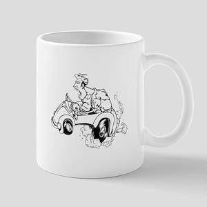 Crazy man driving a car cartoon Mugs