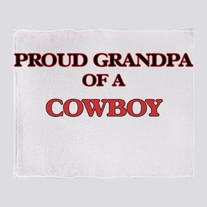 Proud Grandpa of a Cowboy Throw Blanket
