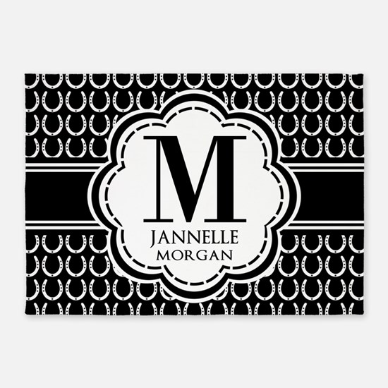 Black and White Custom Monogram 5'x7'Area Rug