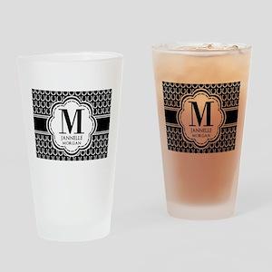Black and White Custom Monogram Drinking Glass