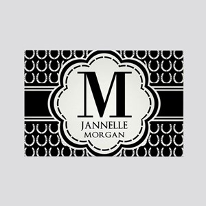 Black and White Custom Monogram Rectangle Magnet