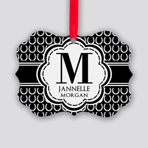 Black and White Custom Monogram Picture Ornament