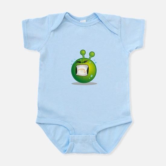 Smiley green alien huf Body Suit