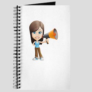 Cartoon Girl holding Megaphone Journal