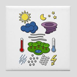 Weather chart symbols Tile Coaster