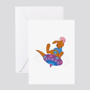 Winnie the Pooh Roo on top Greeting Cards