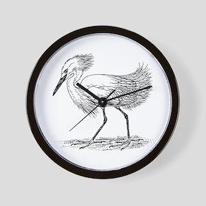 Egret on land Wall Clock