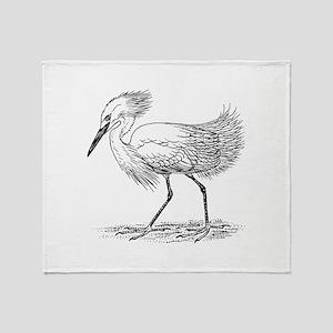 Egret on land Throw Blanket