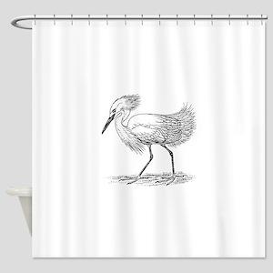 Egret on land Shower Curtain
