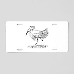 Egret on land Aluminum License Plate