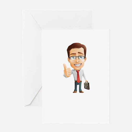 Cartoon Businessman Character With Greeting Cards