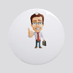 Cartoon Businessman Character With Round Ornament
