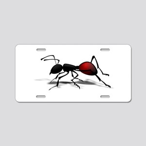 Black and red Ant Aluminum License Plate