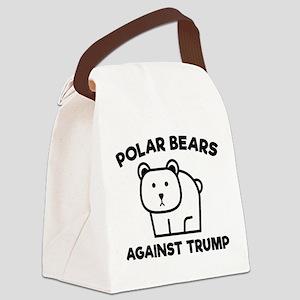 Polar Bears Against Trump Canvas Lunch Bag
