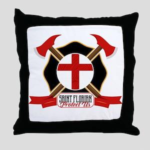 Saint Florian Shield Throw Pillow